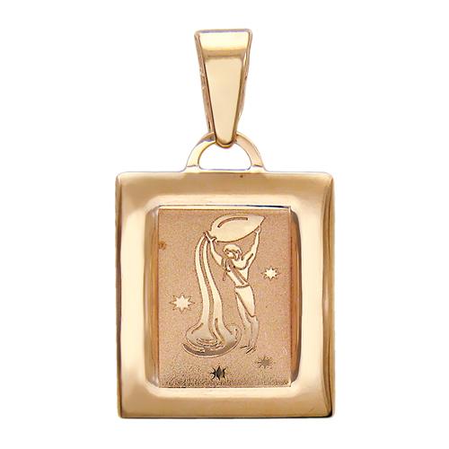 """Кулон, знак зодиака """"Водолей"""", прямоугольный, алмазная огранка, красное золото, 585 пробы"""