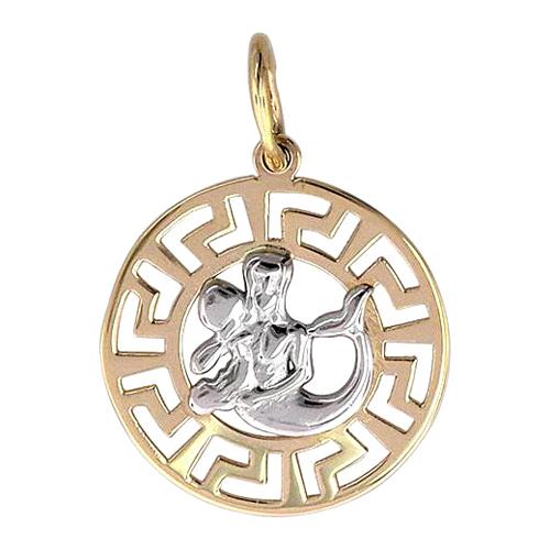 """Кулон, знак зодиака """"Водолей"""", в круге с греческим узором, красное золото, 585 пробы"""