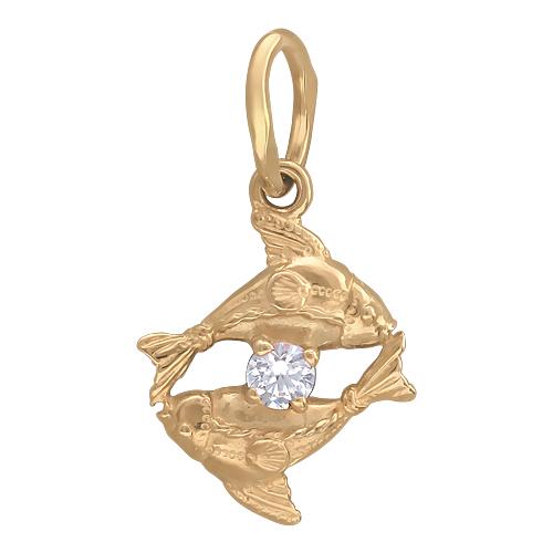Кулон знак зодиака Рыбы две рыбы между ними фианит, прорисовка плавников, красное золото, 585 проба