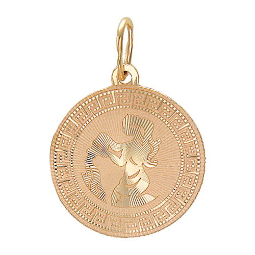 """Кулон, знак зодиака """"Водолей"""", круглый, алмазная огранка от центра, греческий орнамент, красное золото, 585 пробы"""