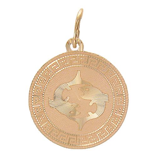 """Кулон знак зодиака """"Рыбы"""" в круге с греческим рисунком и огранкой от центра красное золото, 585 проба"""
