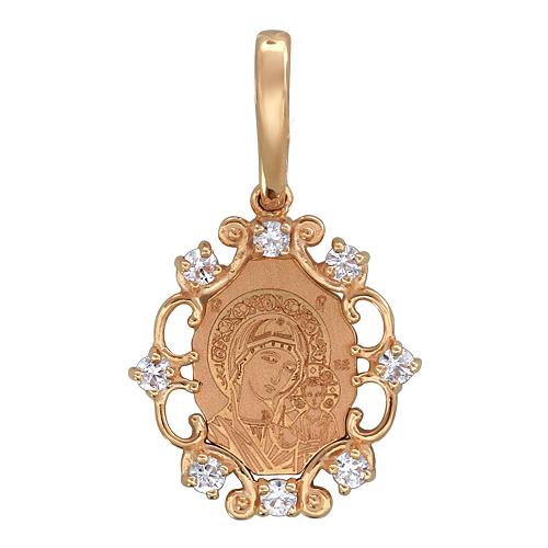 Казанская Икона Божьей Матери красное золото с восемью фианитами, высота 14 мм