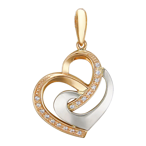 Кулон два сердца переплетены вместе, фианит, белое и красное золото, 585 пробы