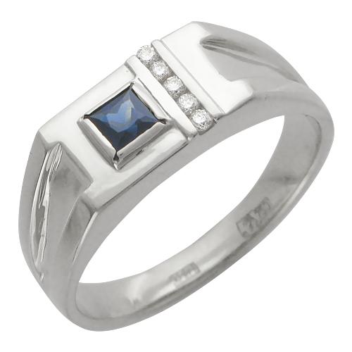 Мужское кольцо, сапфир квадрат, пять бриллиантов, белое золото 585 проба