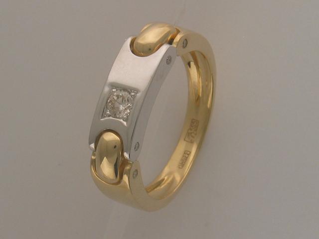 Кольцо мужское с бриллиантом, золотые звенья, желтое и белое золото 585 пробы
