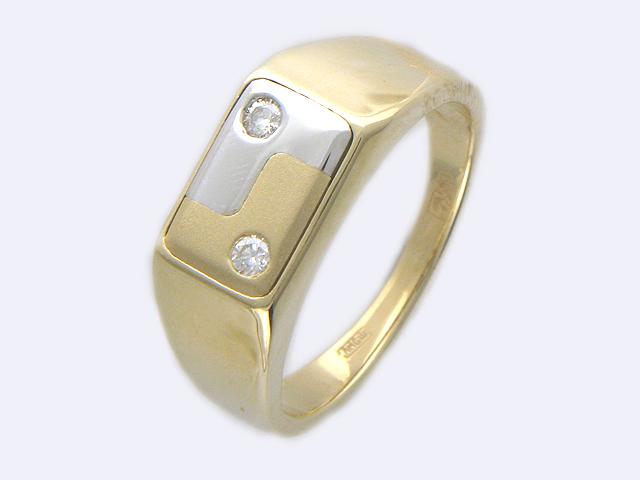 Кольцо мужское, два бриллианта, комбинированное золото, 585 пробы