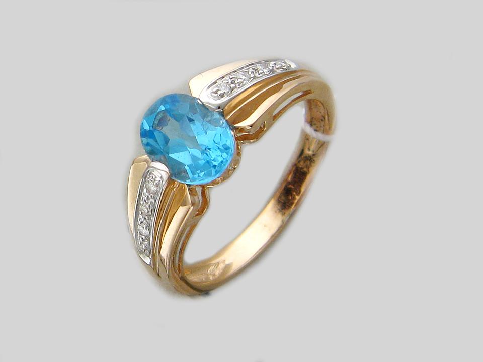 Кольцо с большим овальным топазом и дорожкой бриллиантов, красное золото