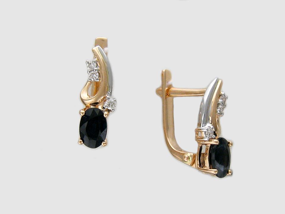 Серьги Овалы с Бриллиантами и драгоценными камнями с золотой петлей, комбинированное золото, 585 пробы