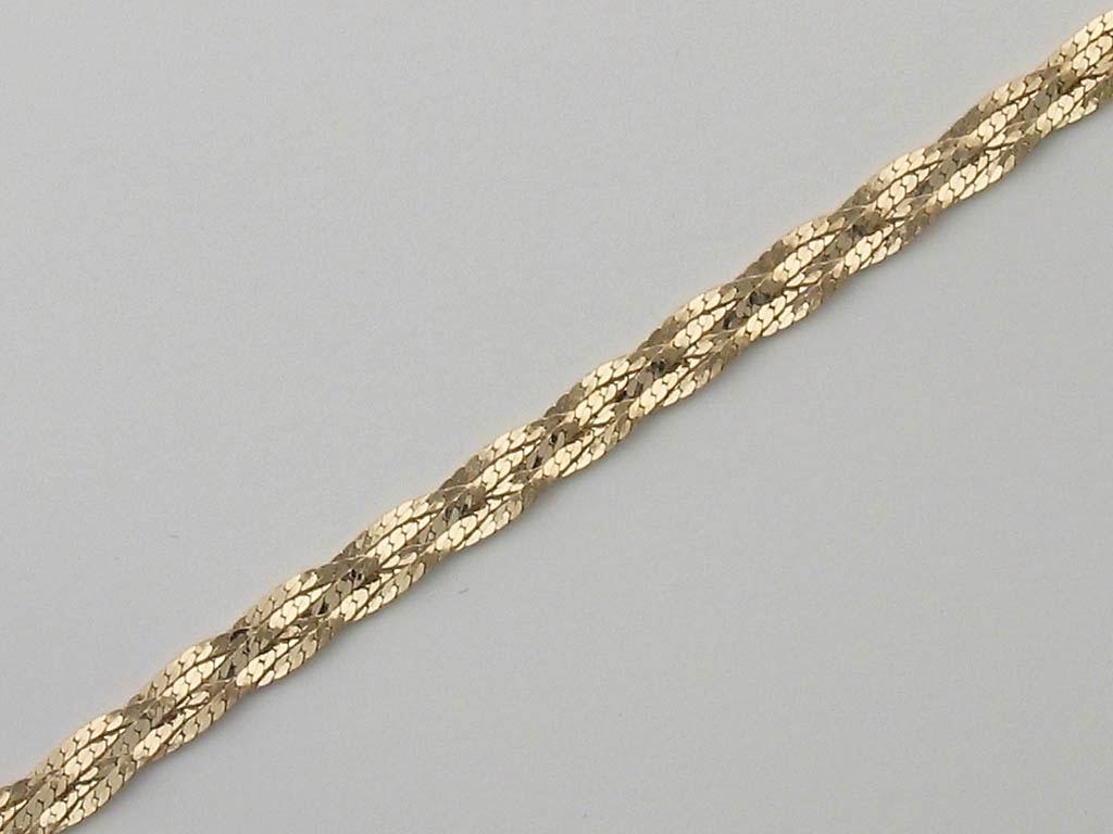 Цепь Коса из пяти полос, жёлтое золото, 585 проба 5мм