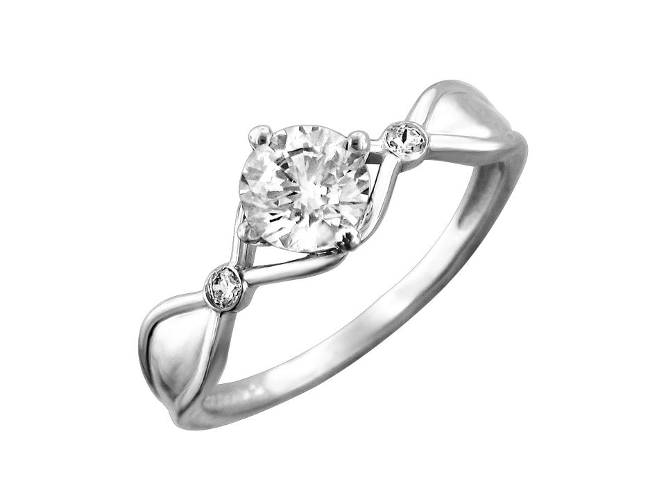 Кольцо Витраж с большим фианитом бриллиантовой огранки, белое золото