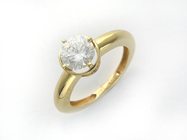 """Кольцо """"Сан-Франциско"""", Желтое золото, сверху в крупный фианит бриллиантовой огранки"""