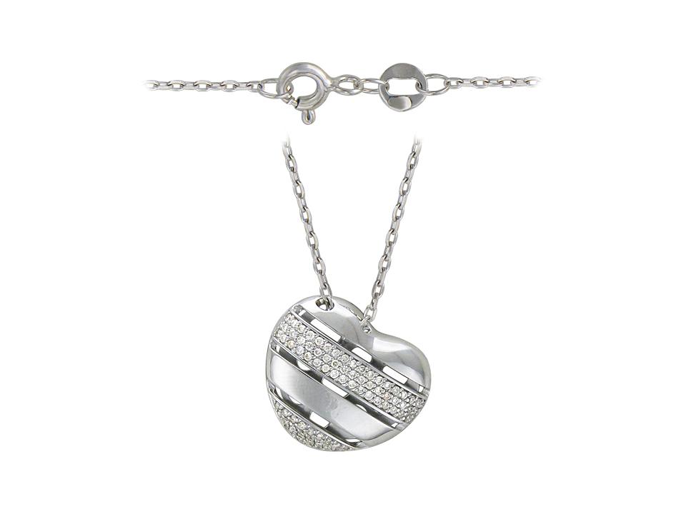 """Колье декоративное """"Сердце в полоску"""" на якорной цепи, бриллианты, белое золото 750 пробы"""