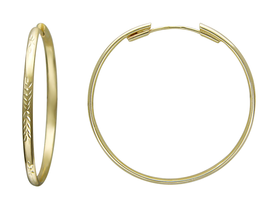 Серьги Кольца с алмазной гранью, желтое золото 585 пробы 50 мм