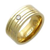 Кольцо обручальное с бриллиантом, широкая шинка, жёлтое золото