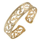Браслет - обруч узорный, красное золото 15мм