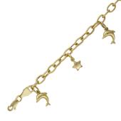 Браслет якорный пустотелый 5мм, подвески звезда 7мм и дельфин 12мм, желтое золото