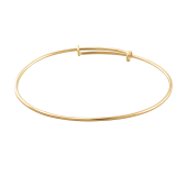 Браслет обруч минималистичный, желтое золото