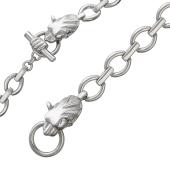Мужской браслет из серебра с якорными звеньями и головой Льва