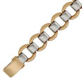Браслет Ролекс, круги с перемычкой, комбинированное золото 12мм