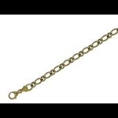 Браслет Якорный пустотелый на карабине, желтое и белое золото 4мм