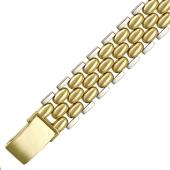 Браслет с овальными звеньями, 14 мм, желтое и белое золото