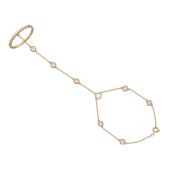 Браслет Панье с кольцом и фианитами, красное золото