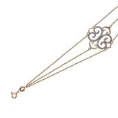Браслет Азия с ажурным элементом и фиантами, красное золото