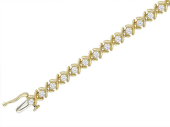 Браслет с фианитами, буква икс и фианиты, желтое золото 4мм