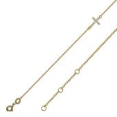 Браслет якорный с подвеской Крест с фианитами, желтое золото