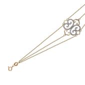Браслет Азия с ажурным элементом и фиантами, желтое золото