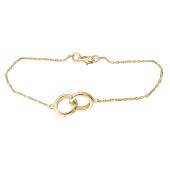 Браслет Два Кольца с фианитом из желтого золота 585 пробы