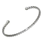 Браслет-обруч с фианитами, серебро
