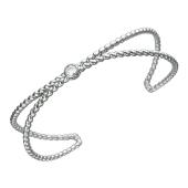 Браслет-обруч канатный двойной с фианитом, серебро