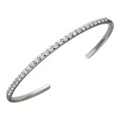 Браслет-обруч Дорожка с фианитами разомкнутый, серебро