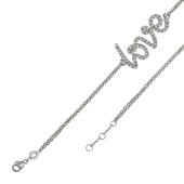 Браслет якорный с надписью Love с фианитами, серебро