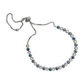 Браслет Змейка с фианитами и синей эмалью, серебро