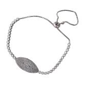 Браслет Змейка Глаз с россыпью фианитов, серебро