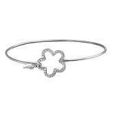 Браслет-обруч Цветок с фианитами, серебро
