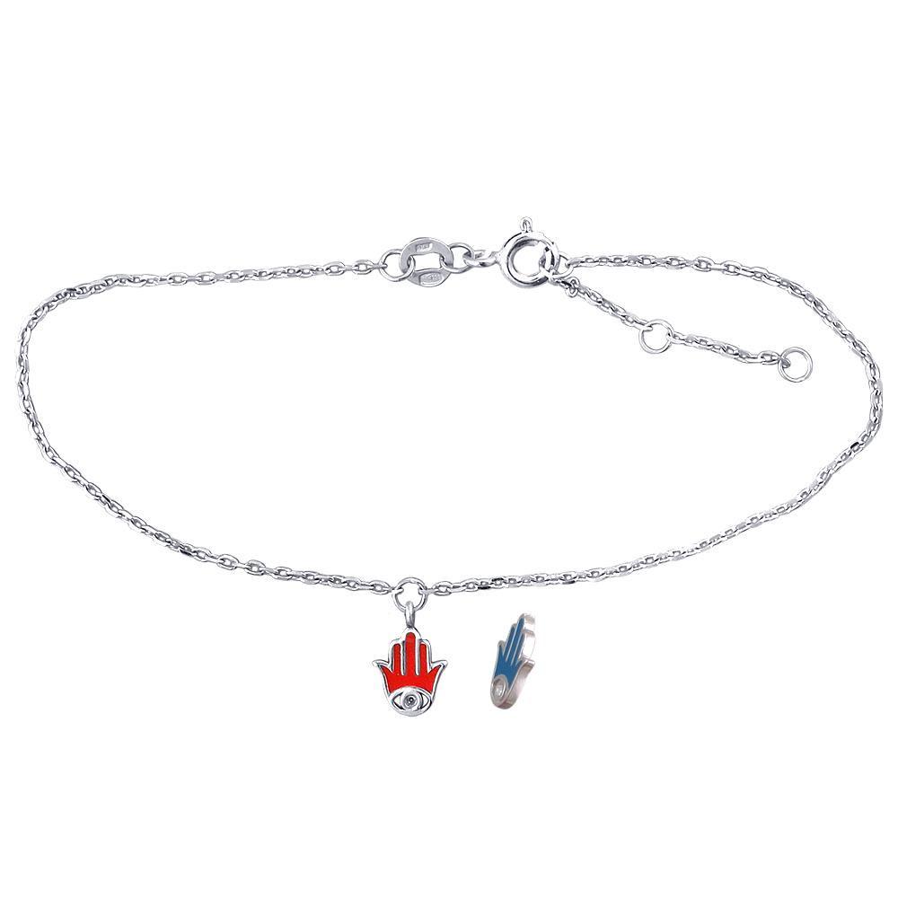 Браслет Хамса с фианитом и эмалью на тонкой серебряной цепочке