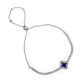 Браслет Четырехлистник с синей эмалью из серебра