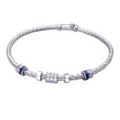 Браслет жгут с шармами с фианитами и синей эмалью, серебро
