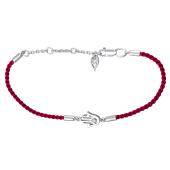 Браслет Хамса на красной шелковой нити с серебром