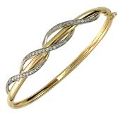 Браслет-обруч с фианитами, желтое и белое золото