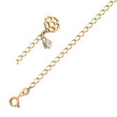 Браслет с подвесками Цветы, фианит, комбинированное золото