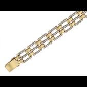 Браслет Ролекс прямоугольные звенья с фианитами, желтое и белое золото 12мм