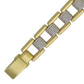 Браслет Ролекс с фианитами, желтое и белое золото