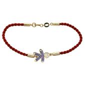 Браслет-красная нить Мальчик с сапфиром и рубином из  желтого золота 585 пробы