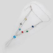 Браслет слейв Панье с цветными (синий, красный,зеленый, сиреневый, желтый) фианитами, серебро