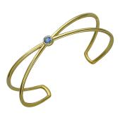 Браслет-обруч с голубым фианитом разомкнутый литой, серебро с позолотой