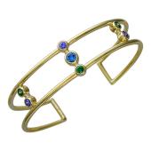 Браслет-обруч с синим, зеленым и сиреневым фианитами разомкнутый литой двойной, серебро с позолотой